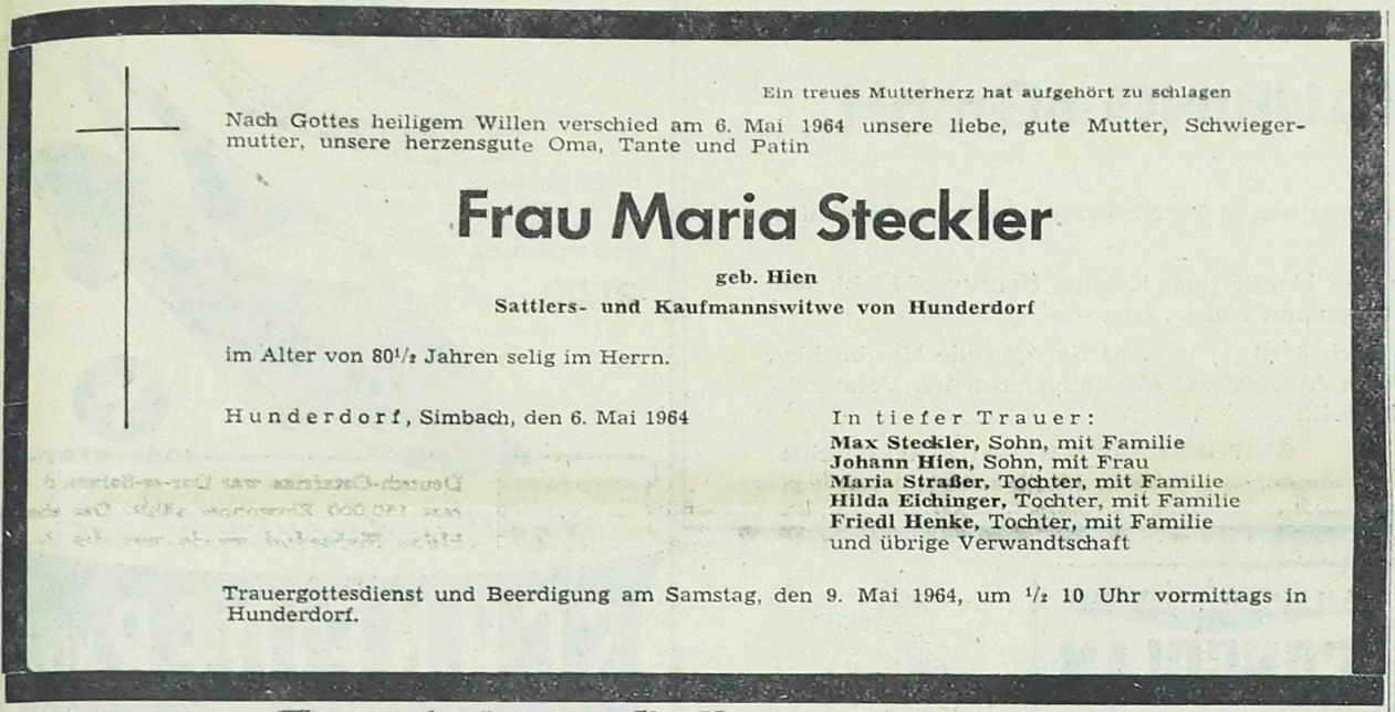 1964 05 06 Hunderdorf Früher